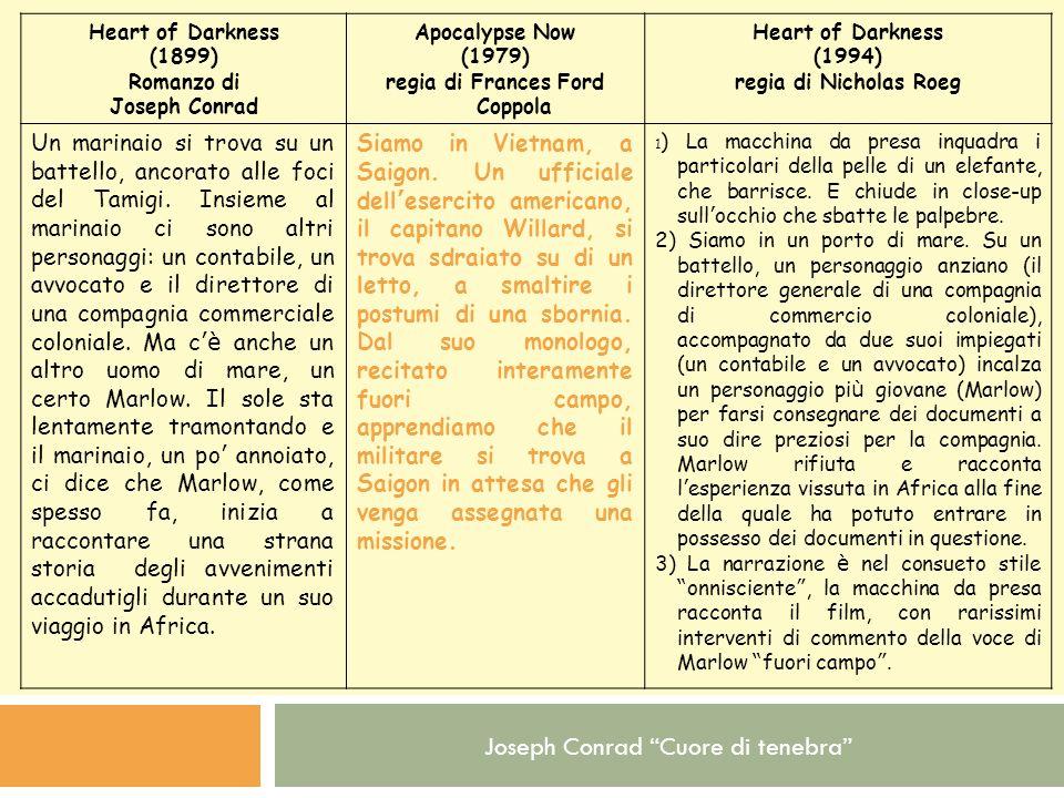 Joseph Conrad Cuore di tenebra Heart of Darkness (1899) Romanzo di Joseph Conrad Apocalypse Now (1979) regia di Frances Ford Coppola Heart of Darkness