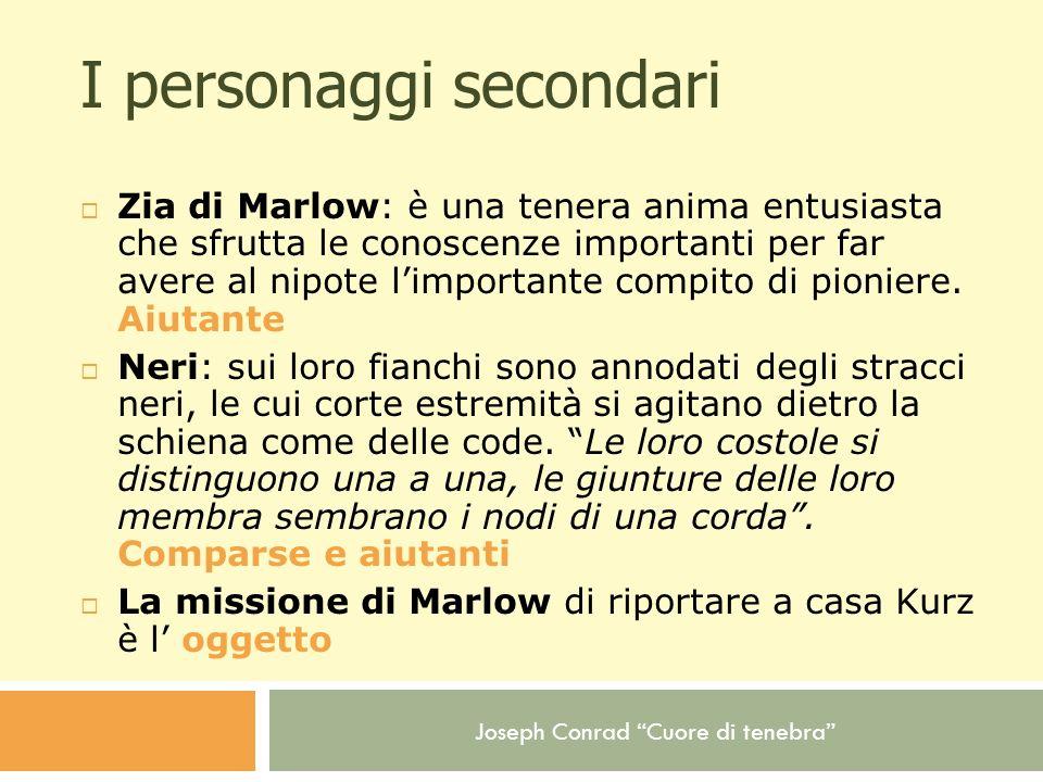Joseph Conrad Cuore di tenebra I personaggi secondari Zia di Marlow: è una tenera anima entusiasta che sfrutta le conoscenze importanti per far avere