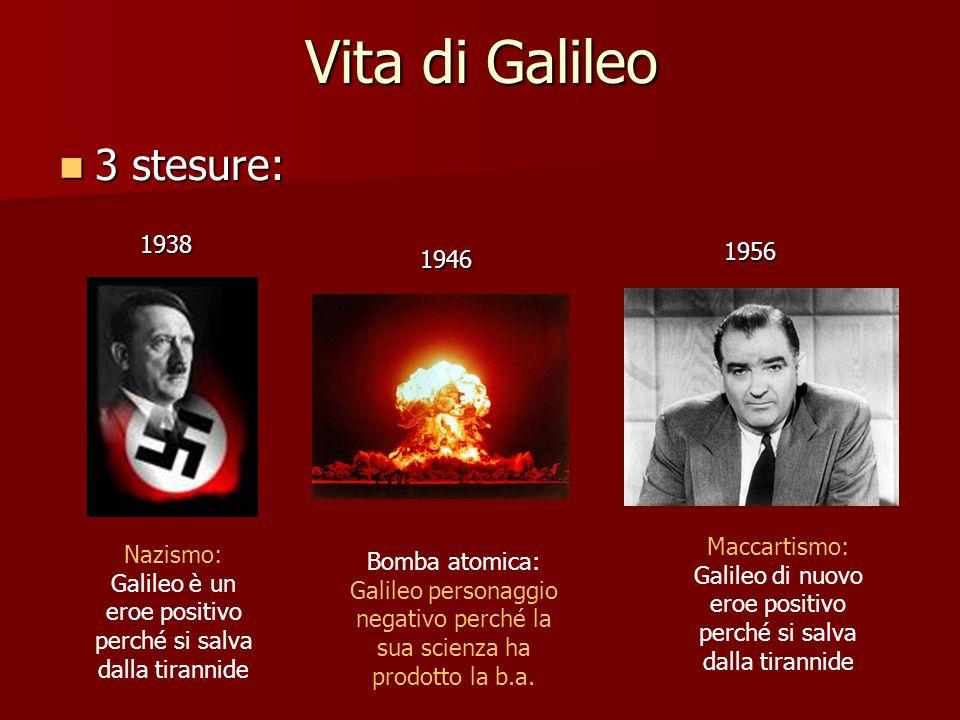 Vita di Galileo 3 stesure: 3 stesure: 1938 1946 1956 Nazismo: Galileo è un eroe positivo perché si salva dalla tirannide Maccartismo: Galileo di nuovo