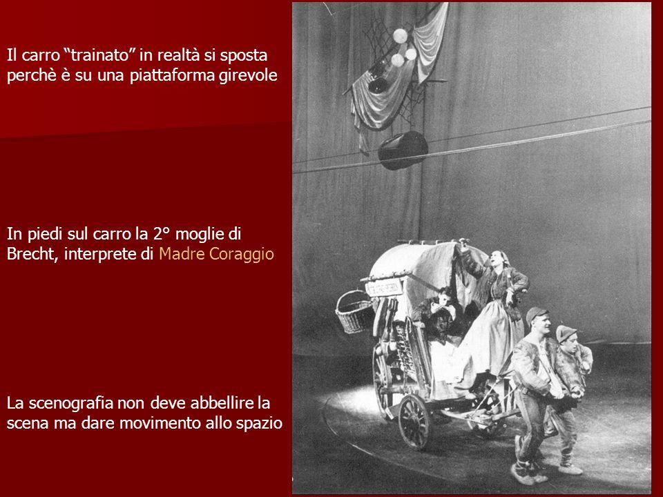 Il carro trainato in realtà si sposta perchè è su una piattaforma girevole In piedi sul carro la 2° moglie di Brecht, interprete di Madre Coraggio La