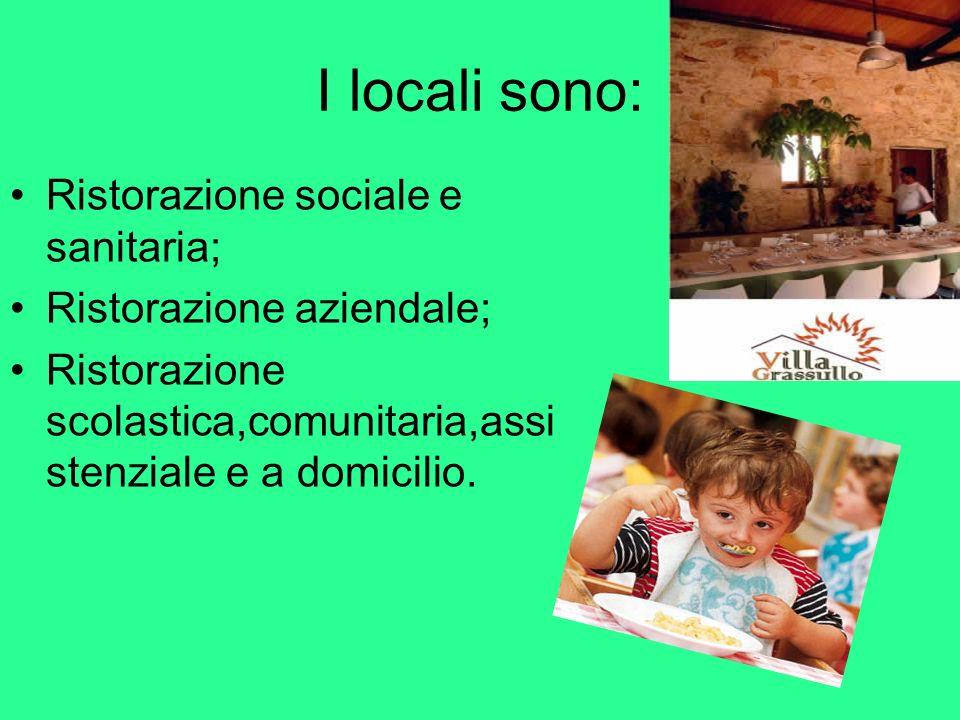 I locali sono: Ristorazione sociale e sanitaria; Ristorazione aziendale; Ristorazione scolastica,comunitaria,assi stenziale e a domicilio.