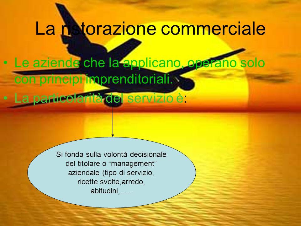 La ristorazione commerciale Le aziende che la applicano, operano solo con principi imprenditoriali.