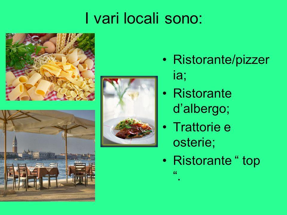 I vari locali sono: Ristorante/pizzer ia; Ristorante dalbergo; Trattorie e osterie; Ristorante top.