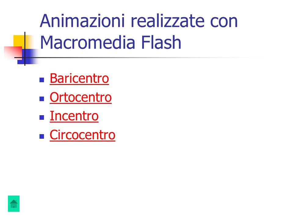 Animazioni realizzate con Macromedia Flash Baricentro Ortocentro Incentro Circocentro