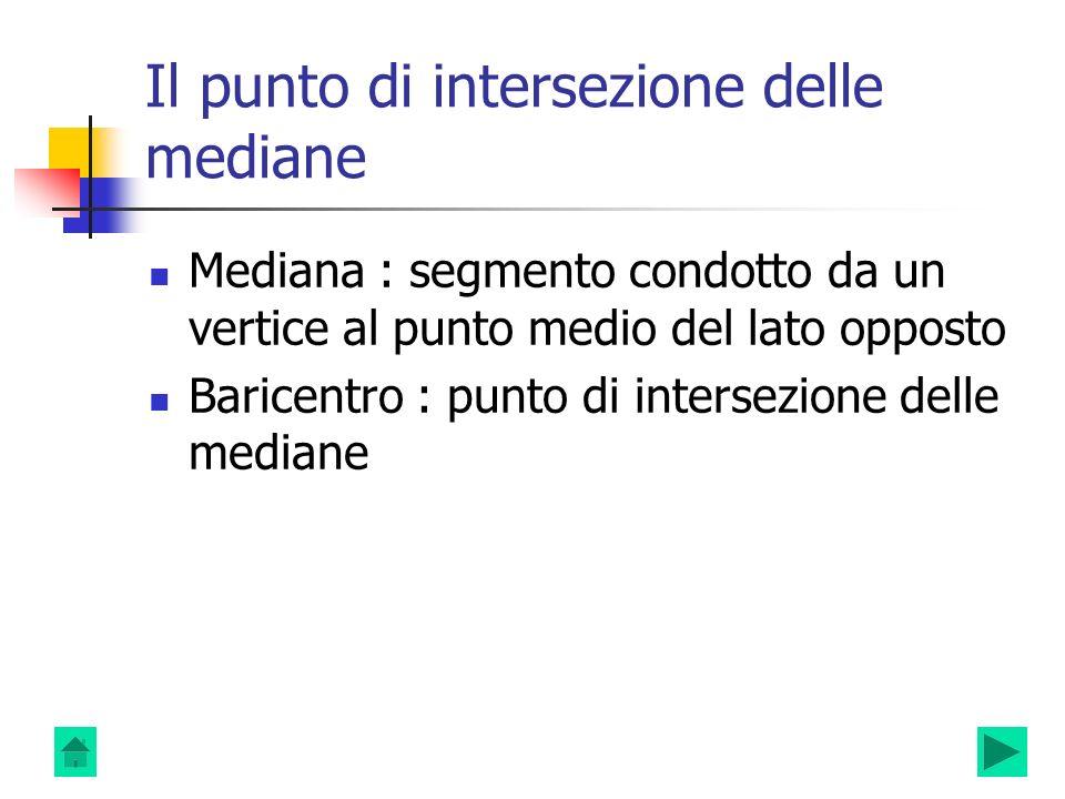 Il punto di intersezione delle mediane Mediana : segmento condotto da un vertice al punto medio del lato opposto Baricentro : punto di intersezione de
