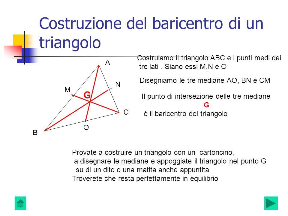 Costruzione del baricentro di un triangolo A B C Costruiamo il triangolo ABC e i punti medi dei tre lati. Siano essi M,N e O M N O Disegniamo le tre m