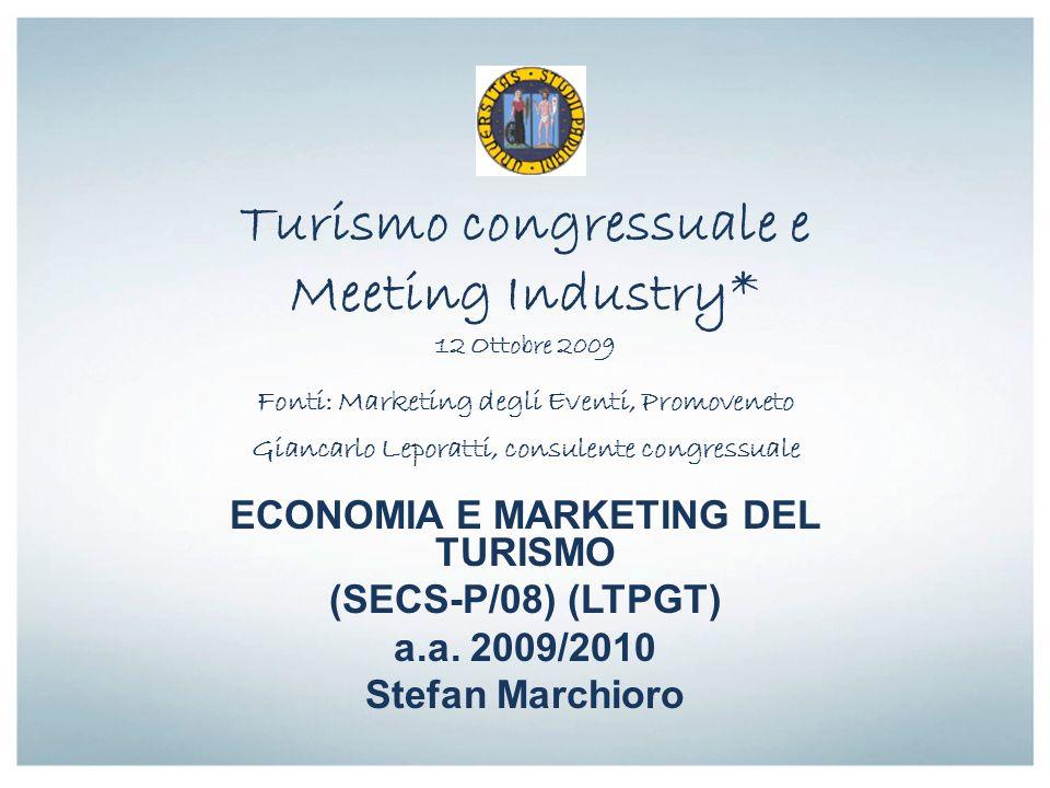 Turismo congressuale e Meeting Industry* 12 Ottobre 2009 Fonti: Marketing degli Eventi, Promoveneto Giancarlo Leporatti, consulente congressuale ECONO