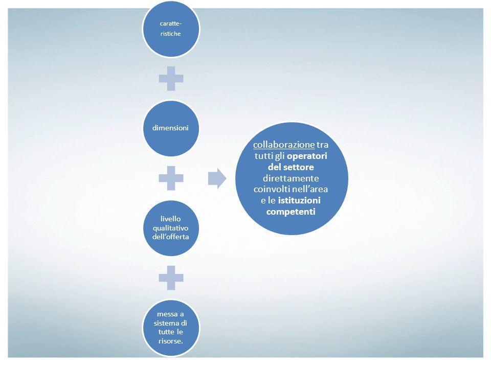 caratte- ristiche dimensioni livello qualitativo dellofferta messa a sistema di tutte le risorse. collaborazione tra tutti gli operatori del settore d