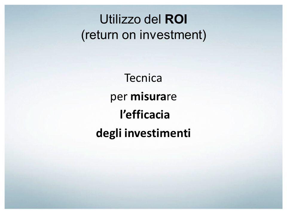 Utilizzo del ROI (return on investment) Tecnica per misurare lefficacia degli investimenti