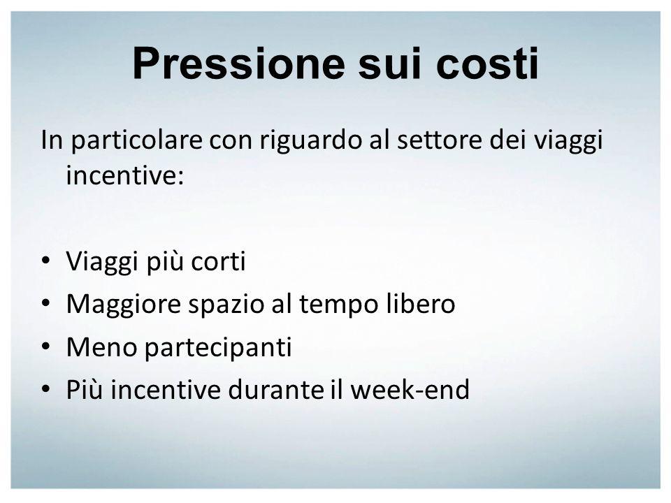 Pressione sui costi In particolare con riguardo al settore dei viaggi incentive: Viaggi più corti Maggiore spazio al tempo libero Meno partecipanti Pi