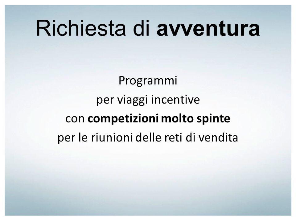 Richiesta di avventura Programmi per viaggi incentive con competizioni molto spinte per le riunioni delle reti di vendita