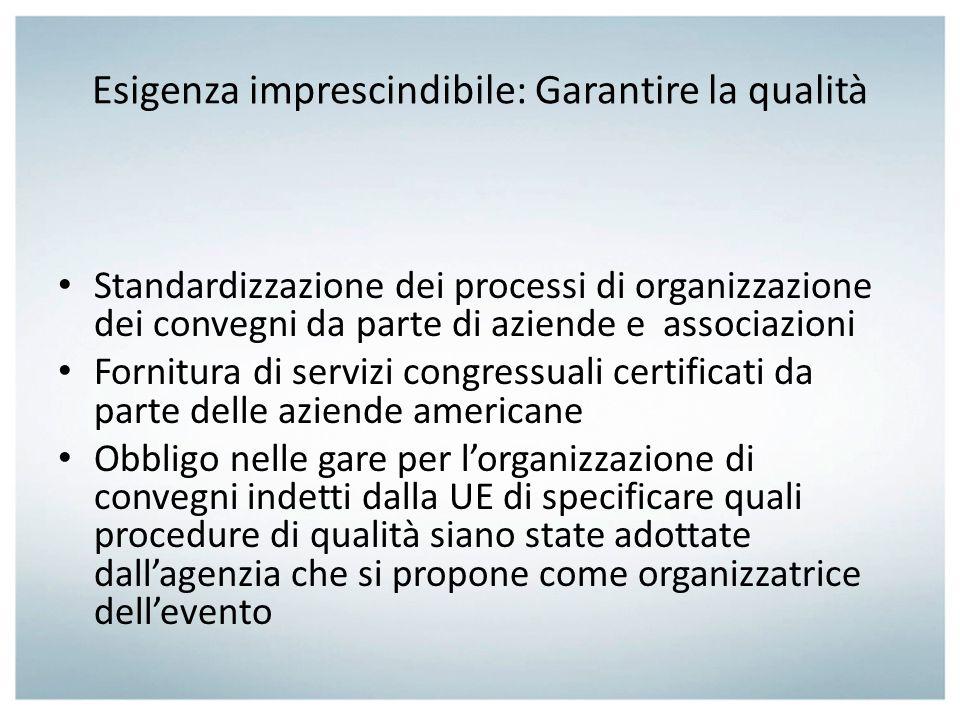 Esigenza imprescindibile: Garantire la qualità Standardizzazione dei processi di organizzazione dei convegni da parte di aziende e associazioni Fornit