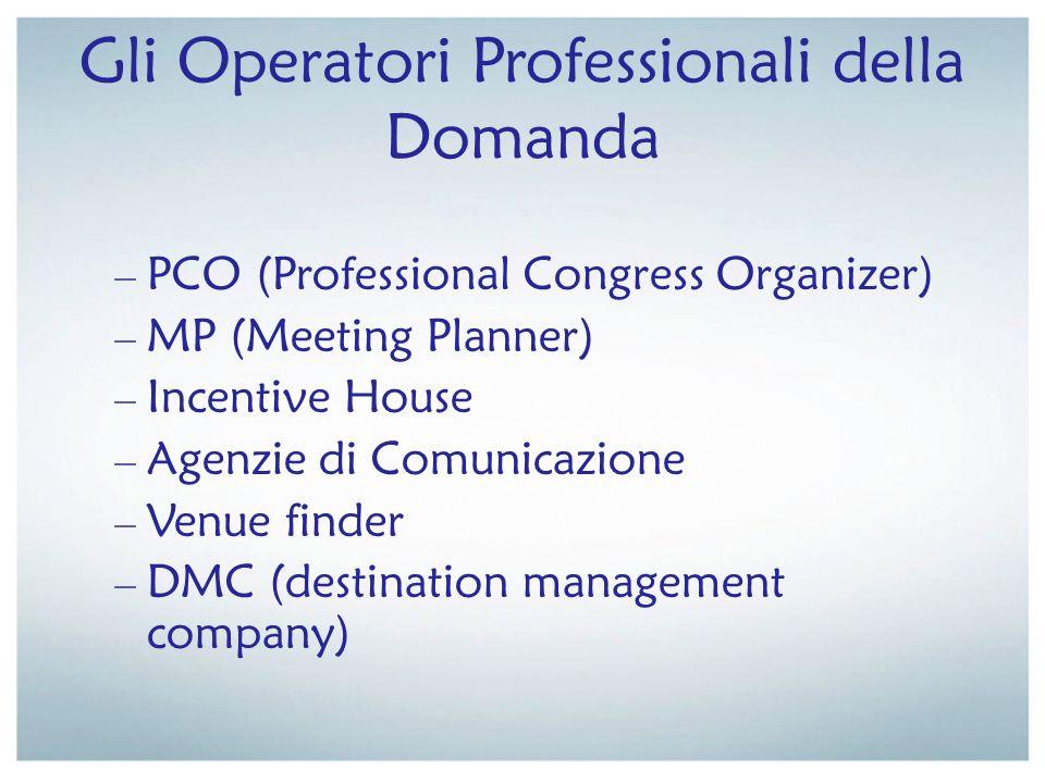 Gli Operatori Professionali della Domanda – PCO (Professional Congress Organizer) – MP (Meeting Planner) – Incentive House – Agenzie di Comunicazione
