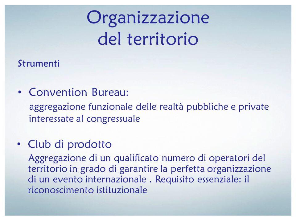 Organizzazione del territorio Strumenti Convention Bureau: aggregazione funzionale delle realtà pubbliche e private interessate al congressuale Club d