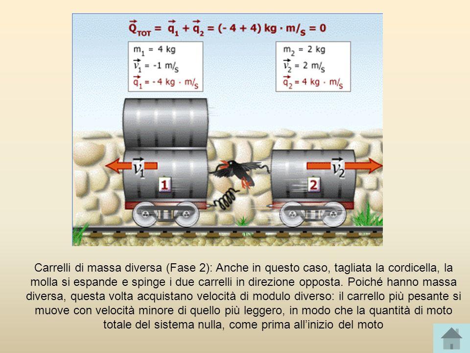 Carrelli di massa diversa (Fase 2): Anche in questo caso, tagliata la cordicella, la molla si espande e spinge i due carrelli in direzione opposta. Po