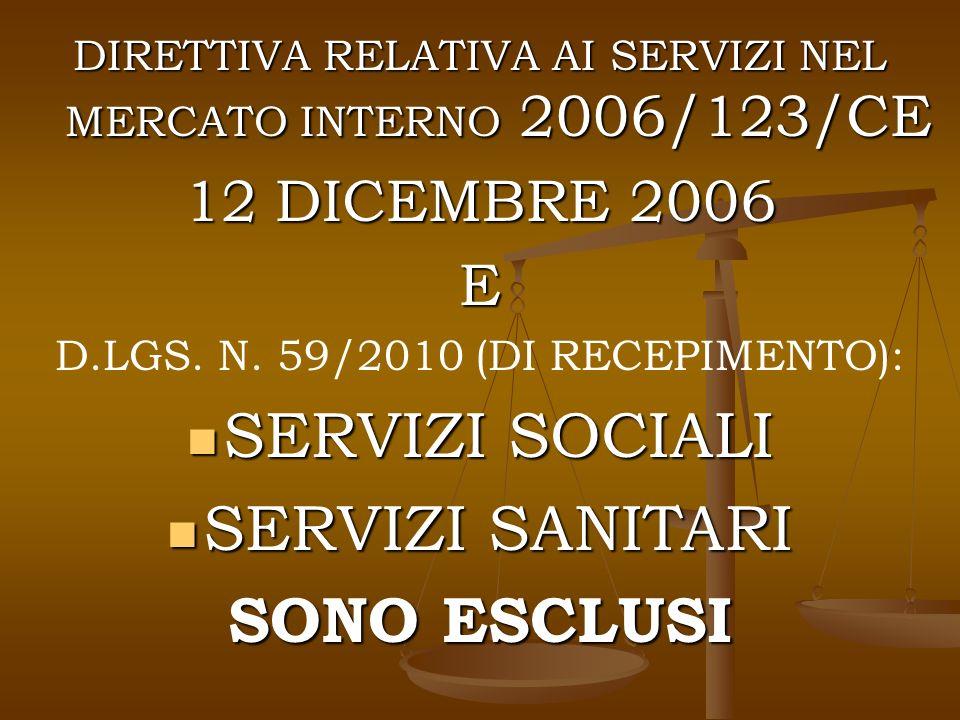 DIRETTIVA RELATIVA AI SERVIZI NEL MERCATO INTERNO 2006/123/CE 12 DICEMBRE 2006 E D.LGS.