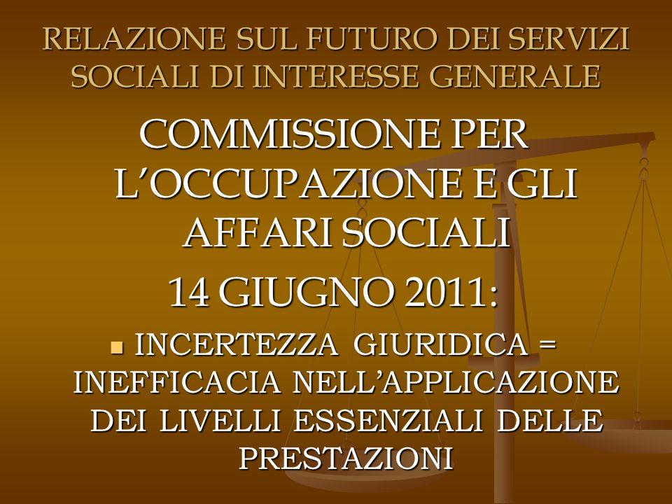 RELAZIONE SUL FUTURO DEI SERVIZI SOCIALI DI INTERESSE GENERALE COMMISSIONE PER LOCCUPAZIONE E GLI AFFARI SOCIALI 14 GIUGNO 2011: INCERTEZZA GIURIDICA = INEFFICACIA NELLAPPLICAZIONE DEI LIVELLI ESSENZIALI DELLE PRESTAZIONI INCERTEZZA GIURIDICA = INEFFICACIA NELLAPPLICAZIONE DEI LIVELLI ESSENZIALI DELLE PRESTAZIONI