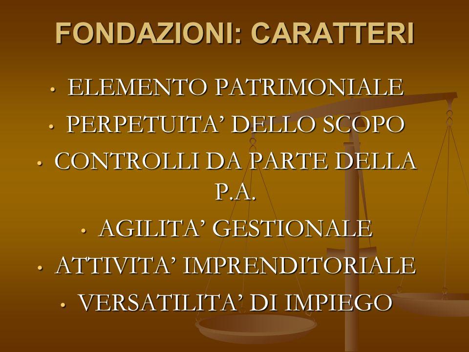 FONDAZIONE DI PARTECIPAZIONE ELEMENTI ASSOCIATIVI + FONDAZIONALI ELEMENTI ASSOCIATIVI + FONDAZIONALI ASSEMBLEA DEI FONDATORI (ELEGGONO MEMBRI DEL CDA) ASSEMBLEA DEI FONDATORI (ELEGGONO MEMBRI DEL CDA) PRESENZA ENTI PUBBLICI E PRIVATI (NON PROFIT E FOR PROFIT) PRESENZA ENTI PUBBLICI E PRIVATI (NON PROFIT E FOR PROFIT) PREVISIONE DI ORGANI DI GARANZIA PER GLI EE.PP.