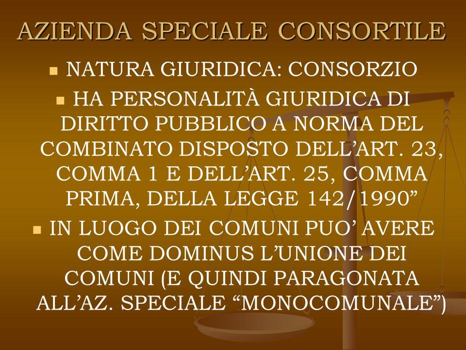 AZIENDA SPECIALE CONSORTILE NATURA GIURIDICA: CONSORZIO HA PERSONALITÀ GIURIDICA DI DIRITTO PUBBLICO A NORMA DEL COMBINATO DISPOSTO DELLART.