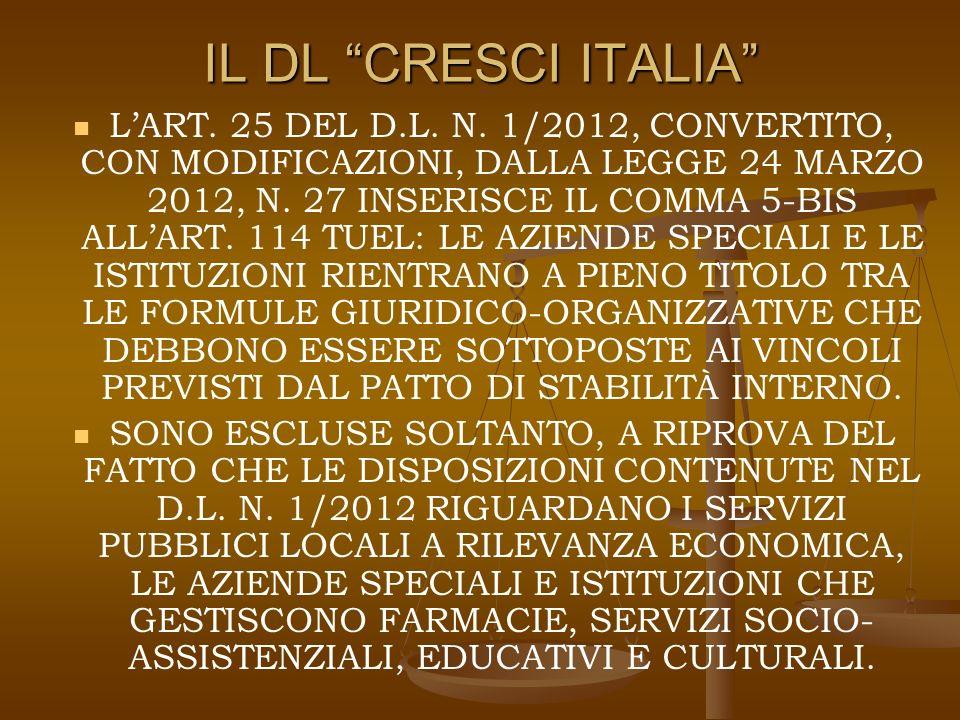 IL DL CRESCI ITALIA LART. 25 DEL D.L. N.