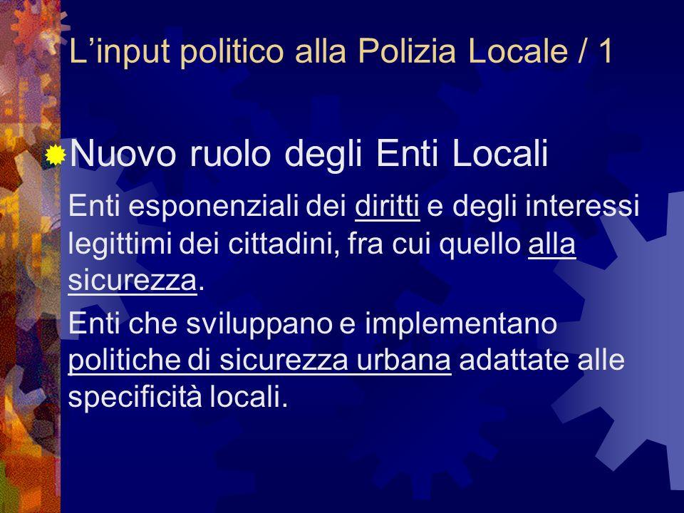 Linput politico alla Polizia Locale / 1 Nuovo ruolo degli Enti Locali Enti esponenziali dei diritti e degli interessi legittimi dei cittadini, fra cui quello alla sicurezza.