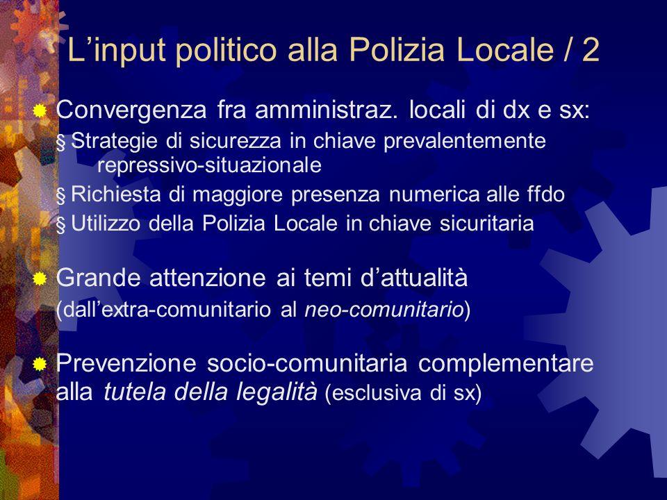 Linput politico alla Polizia Locale / 2 Convergenza fra amministraz.