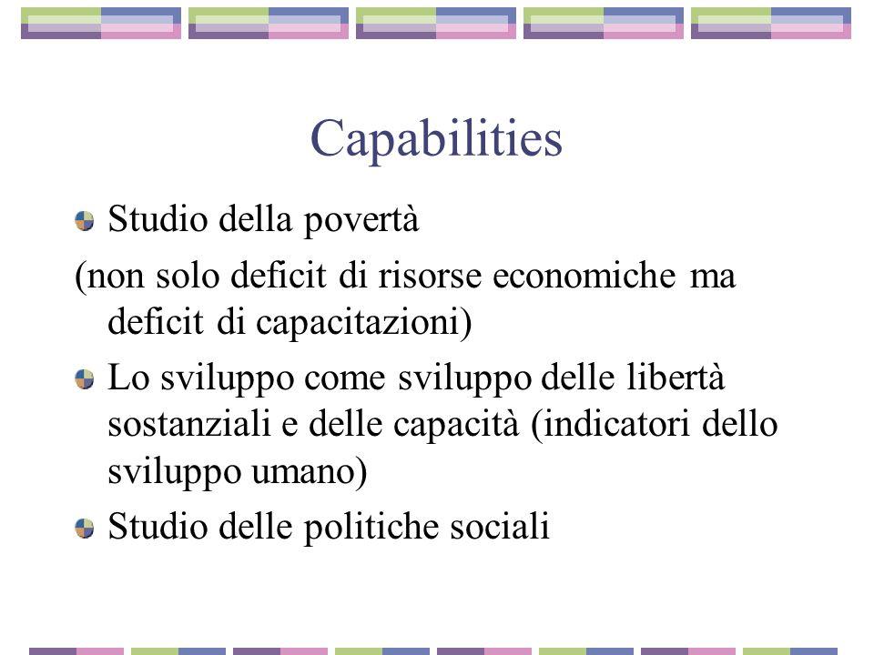 Capabilities Studio della povertà (non solo deficit di risorse economiche ma deficit di capacitazioni) Lo sviluppo come sviluppo delle libertà sostanziali e delle capacità (indicatori dello sviluppo umano) Studio delle politiche sociali