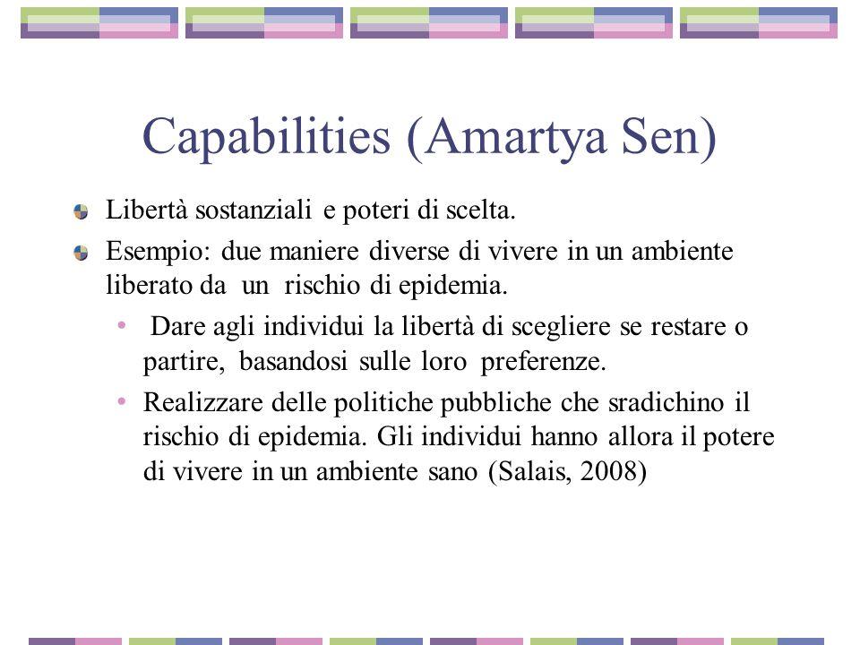Capabilities (Amartya Sen) Libertà sostanziali e poteri di scelta.