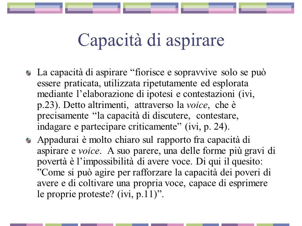 Capacità di aspirare La capacità di aspirare fiorisce e sopravvive solo se può essere praticata, utilizzata ripetutamente ed esplorata mediante lelaborazione di ipotesi e contestazioni (ivi, p.23).