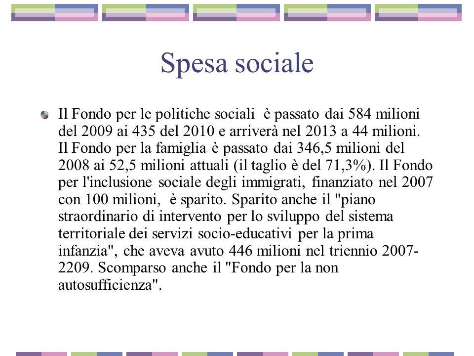 Spesa sociale Il Fondo per le politiche sociali è passato dai 584 milioni del 2009 ai 435 del 2010 e arriverà nel 2013 a 44 milioni.