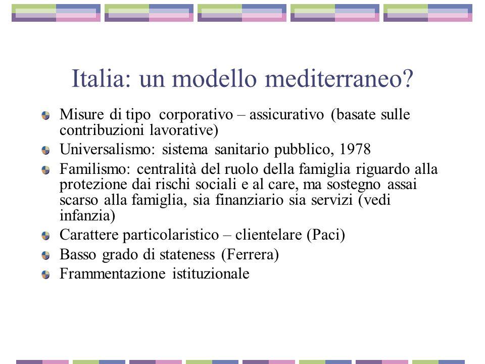Italia la vera anomalia del sistema di welfare italiano è nellinadeguatezza degli ammortizzatori sociali e nellassenza di misure di sostegno al reddito minimo.