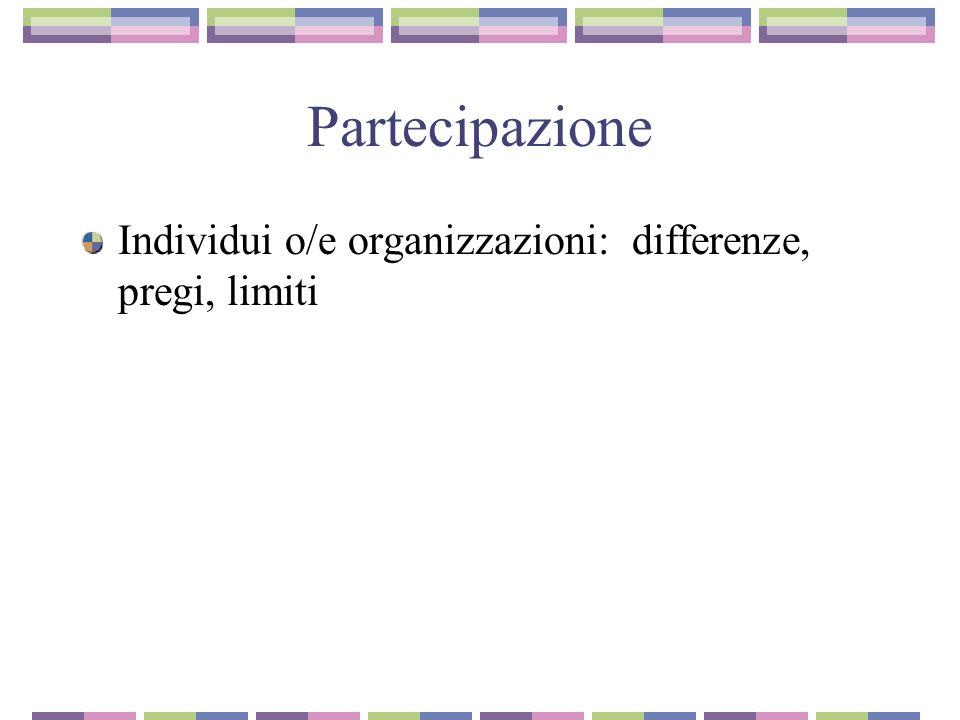 Partecipazione Individui o/e organizzazioni: differenze, pregi, limiti