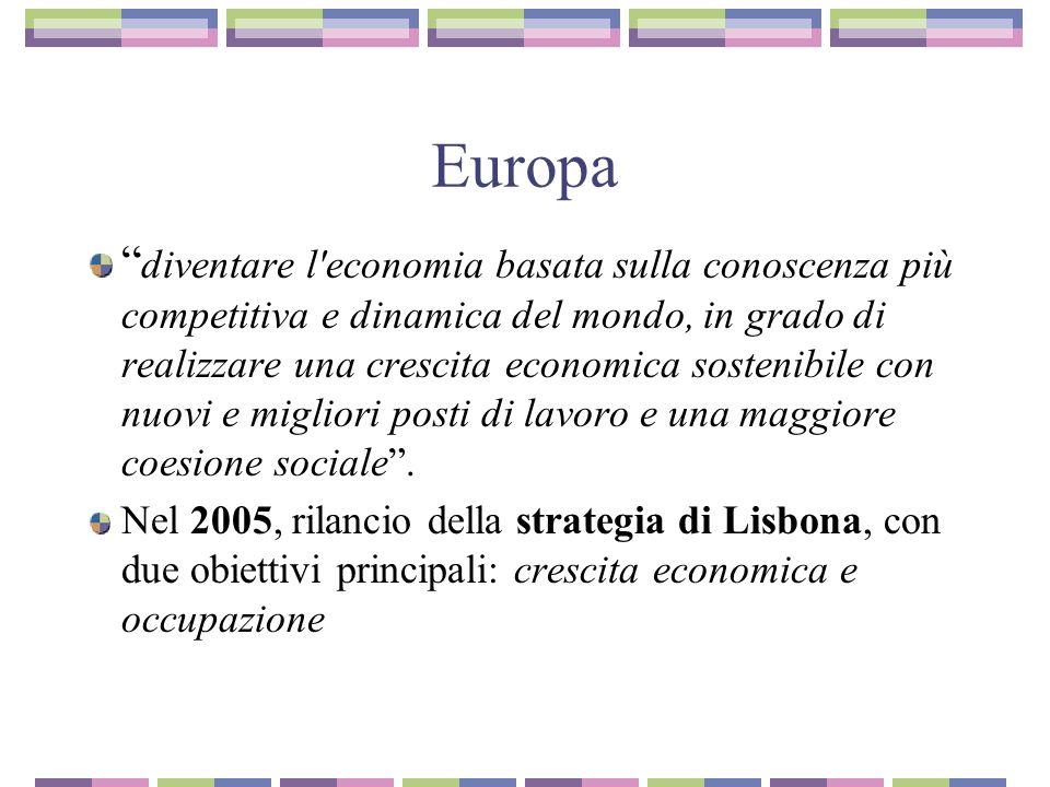 Europa diventare l economia basata sulla conoscenza più competitiva e dinamica del mondo, in grado di realizzare una crescita economica sostenibile con nuovi e migliori posti di lavoro e una maggiore coesione sociale.