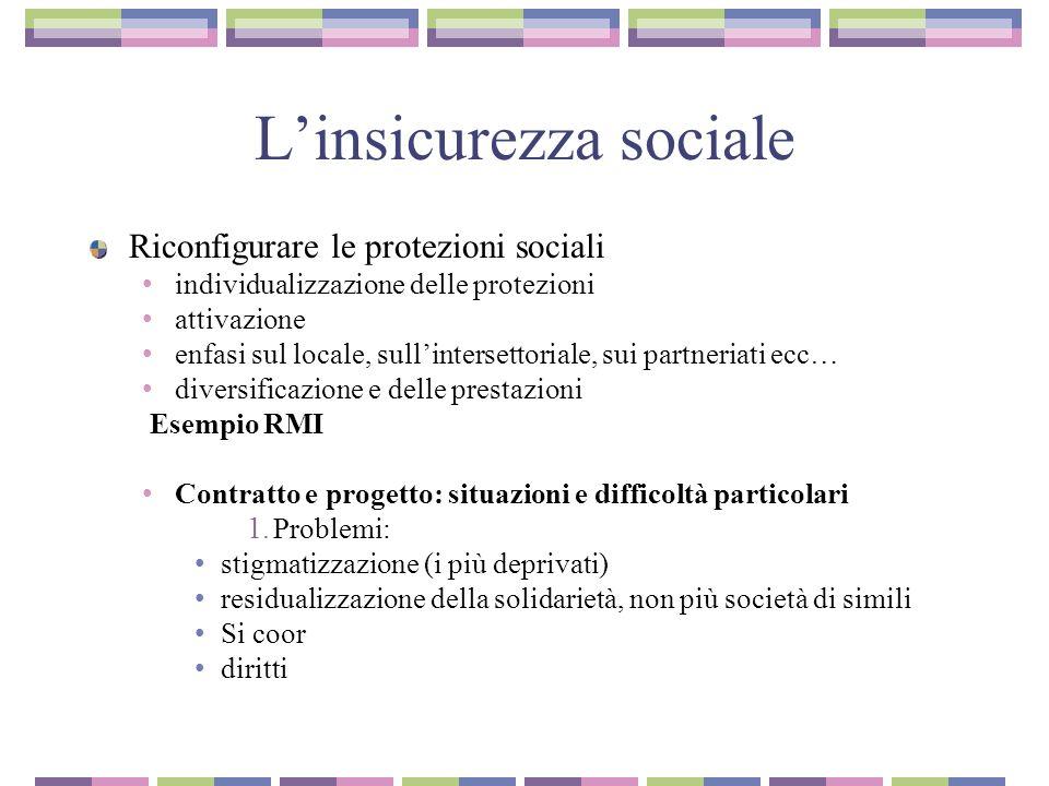 Linsicurezza sociale Riconfigurare le protezioni sociali individualizzazione delle protezioni attivazione enfasi sul locale, sullintersettoriale, sui