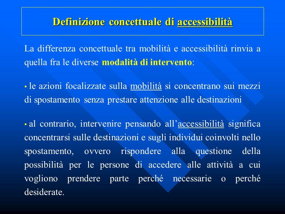 La differenza concettuale tra mobilità e accessibilità rinvia a quella fra le diverse modalità di intervento: le azioni focalizzate sulla mobilità si