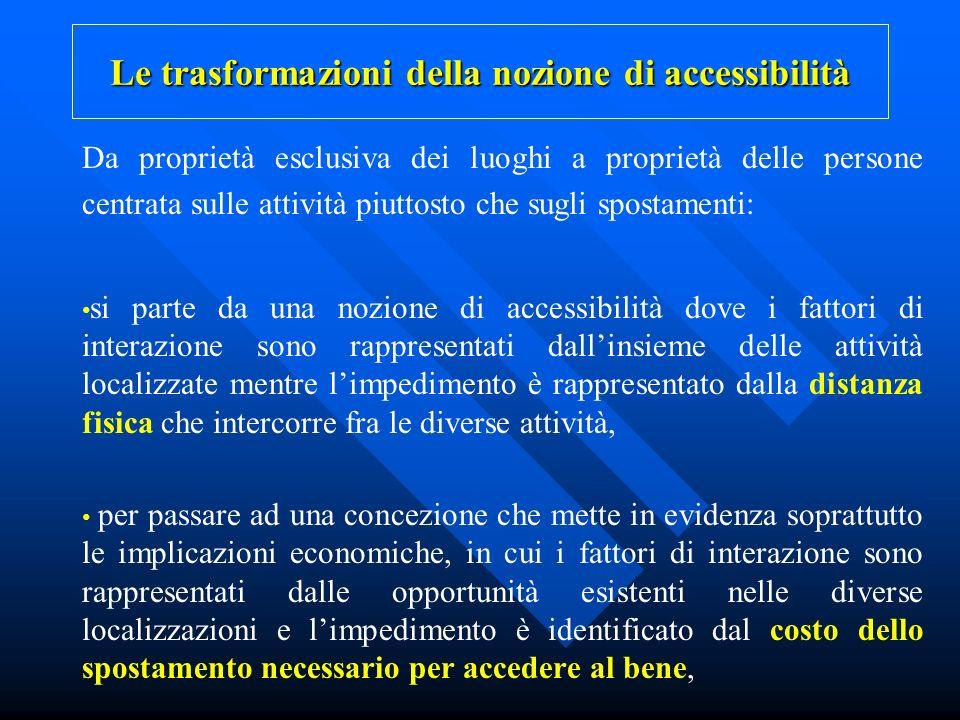 Le trasformazioni della nozione di accessibilità Da proprietà esclusiva dei luoghi a proprietà delle persone centrata sulle attività piuttosto che sug