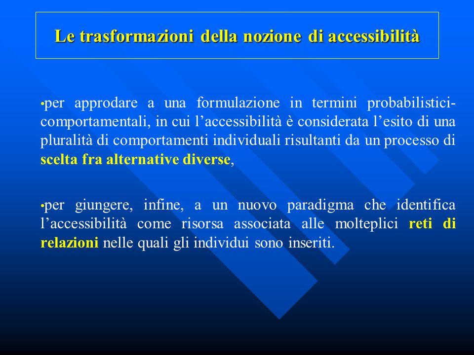 Le trasformazioni della nozione di accessibilità per approdare a una formulazione in termini probabilistici- comportamentali, in cui laccessibilità è