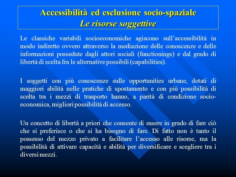 Accessibilità ed esclusione socio-spaziale Le risorse soggettive Le classiche variabili socioeconomiche agiscono sullaccessibilità in modo indiretto o