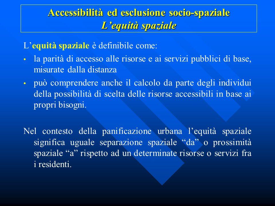 Accessibilità ed esclusione socio-spaziale Lequità spaziale Lequità spaziale è definibile come: la parità di accesso alle risorse e ai servizi pubblic