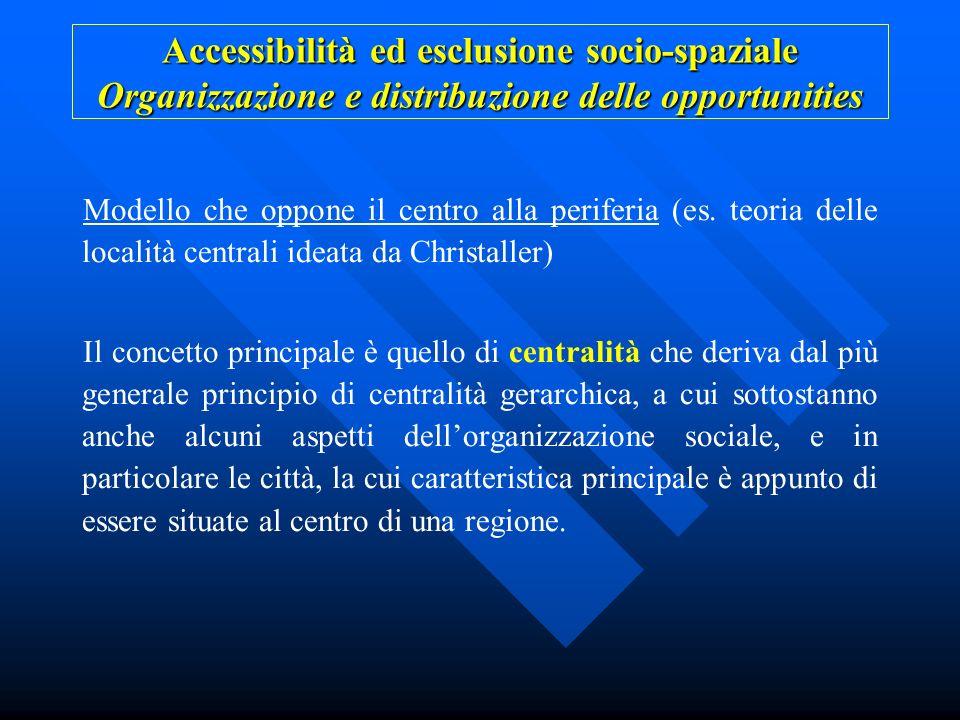Accessibilità ed esclusione socio-spaziale Organizzazione e distribuzione delle opportunities Modello che oppone il centro alla periferia (es. teoria