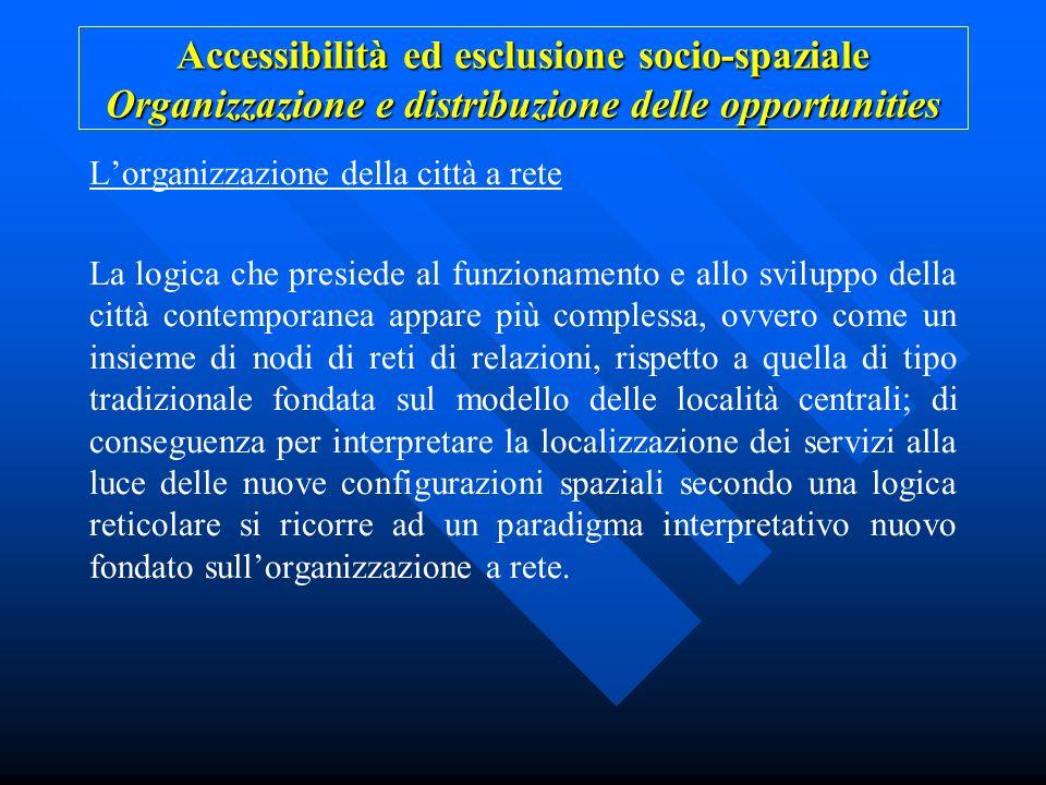 Accessibilità ed esclusione socio-spaziale Organizzazione e distribuzione delle opportunities Lorganizzazione della città a rete La logica che presied