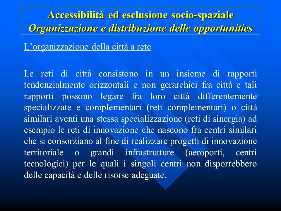 Accessibilità ed esclusione socio-spaziale Organizzazione e distribuzione delle opportunities Lorganizzazione della città a rete Le reti di città cons