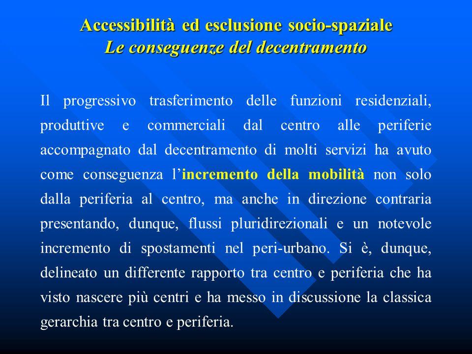 Accessibilità ed esclusione socio-spaziale Le conseguenze del decentramento Il progressivo trasferimento delle funzioni residenziali, produttive e com
