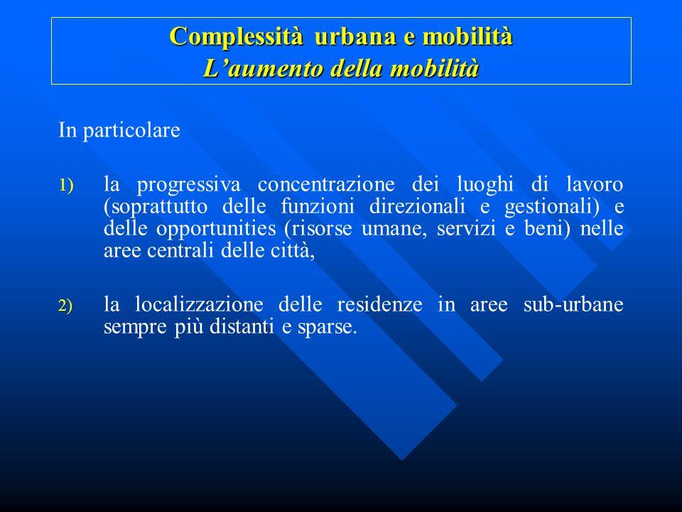 Complessità urbana e mobilità Laumento della mobilità In particolare 1) la progressiva concentrazione dei luoghi di lavoro (soprattutto delle funzioni