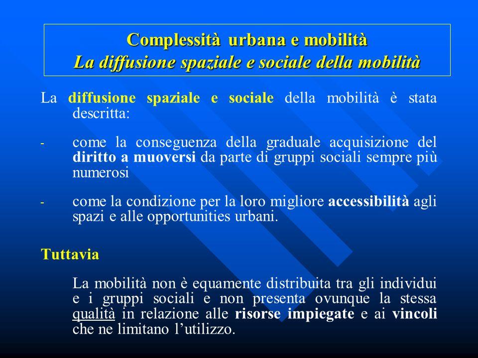 La diffusione spaziale e sociale della mobilità è stata descritta: - come la conseguenza della graduale acquisizione del diritto a muoversi da parte d
