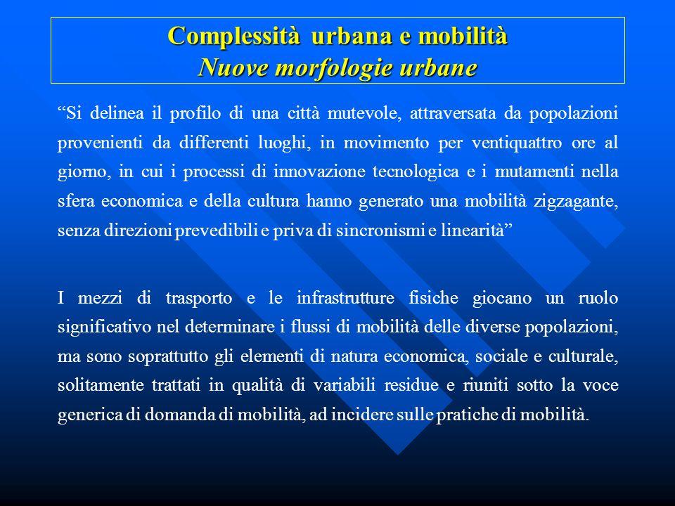 Complessità urbana e mobilità Nuove morfologie urbane Si delinea il profilo di una città mutevole, attraversata da popolazioni provenienti da differen