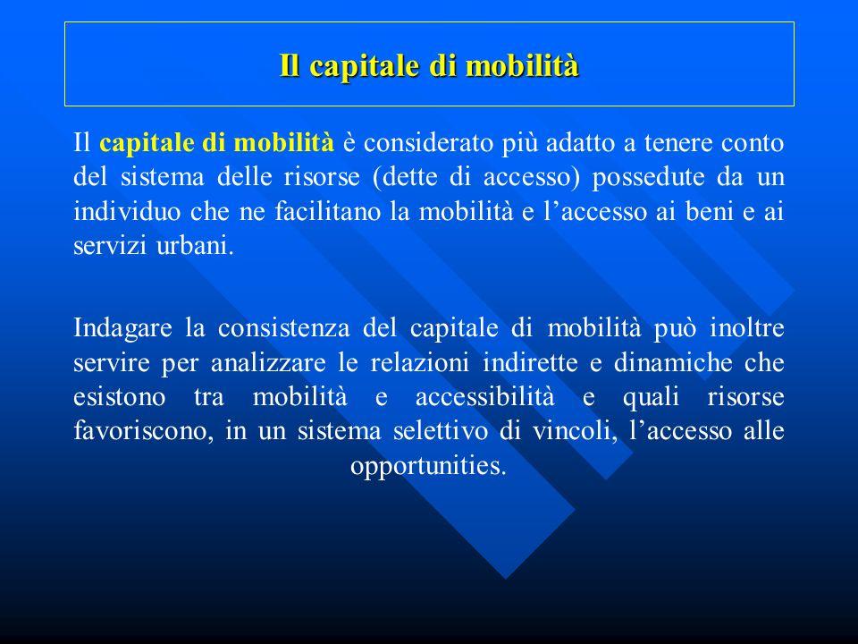 Il capitale di mobilità Il capitale di mobilità è considerato più adatto a tenere conto del sistema delle risorse (dette di accesso) possedute da un i