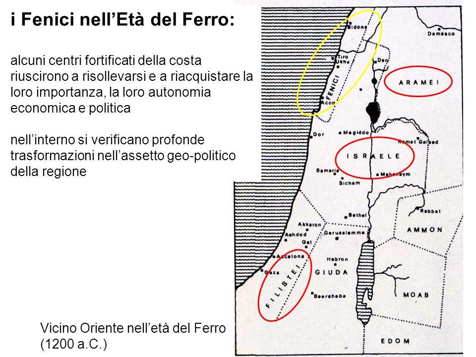 Vicino Oriente nelletà del Ferro (1200 a.C.) i Fenici nellEtà del Ferro: alcuni centri fortificati della costa riuscirono a risollevarsi e a riacquist