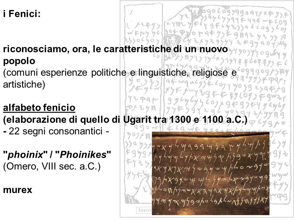 i Fenici: riconosciamo, ora, le caratteristiche di un nuovo popolo (comuni esperienze politiche e linguistiche, religiose e artistiche) alfabeto fenic