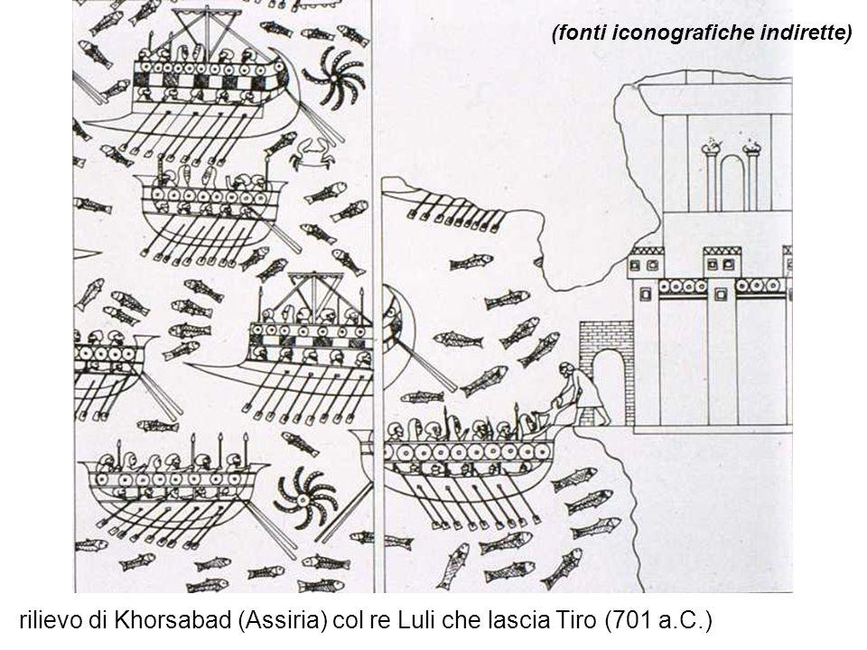 rilievo di Khorsabad (Assiria) col re Luli che lascia Tiro (701 a.C.) (fonti iconografiche indirette)